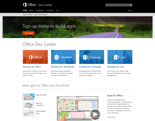 The New Office Developer Center