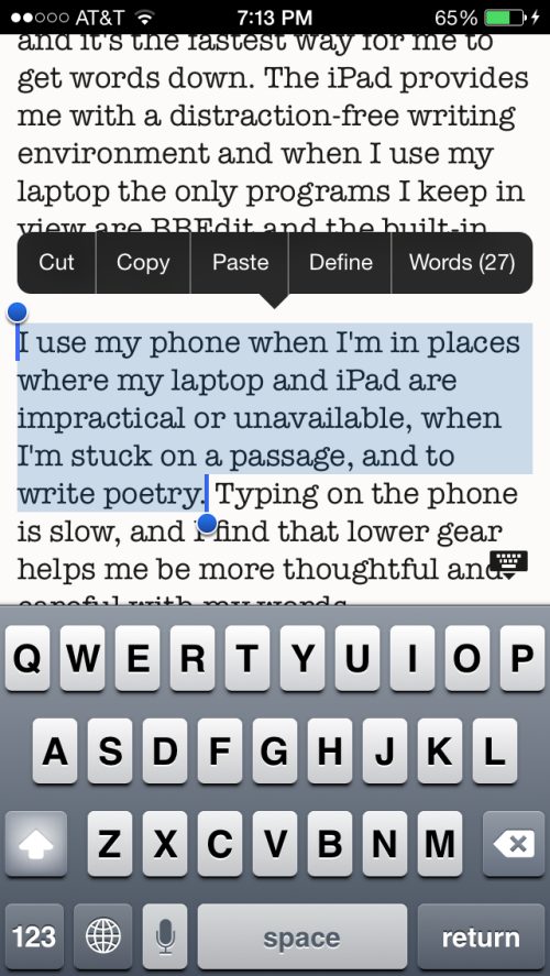 WriteRoom on the iPhone